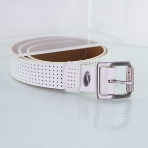 NIKE Men's White Leather BELT Silver Buckle LARGE